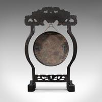 Antique Dinner Gong, Oriental, Ebonised Teak Stand, Chinoiserie, Victorian, 1880 (6 of 12)
