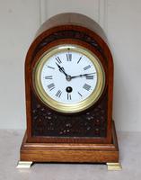 Edwardian Oak Arch Top Mantel Clock (2 of 12)