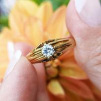 Men's Antique Art Deco 18ct Gold Diamond Solitaire Ring