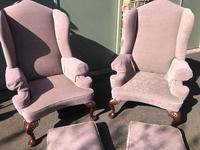 Pair of Antique English Upholstered Wing Armchairs (10 of 10)
