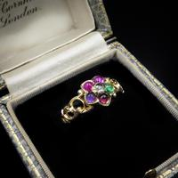 Antique REGARD Acrostic Multi Gemstone Cluster 18ct Gold Ring (2 of 9)