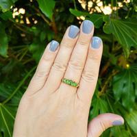Antique Edwardian Demantoid Garnet Five Stone Ring 1911, Green Garnet (2 of 8)