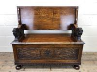 Antique Carved Oak Monk's Bench (2 of 10)