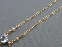 9ct Gold, Blue Zircon & Pearl Necklace (5 of 7)