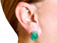 37.17ct Emerald & 6.55ct Diamond, 18ct White Gold Jewellery Set - Antique French c.1925 (21 of 23)