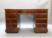 Victorian Figured Mahogany Pedestal Writing Desk (2 of 11)