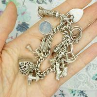 Vintage sterling silver English charm bracelet ~ 12 Charms & Heart padlock~ 50grams (7 of 8)