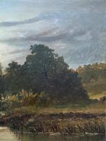 Lovely Original Mid 19th Century Antique British Castle River Landscape Oil Painting (5 of 11)