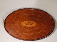 Beautiful Marquetry Inlaid Late 19th Century Oval Mahogany Tray