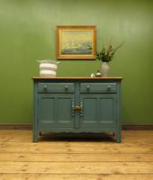 Vintage Blue Painted Ercol Sideboard, Natural Top, Mid Century Retro Sideboard