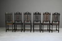 8 Victorian Jacobean Style Oak Dining Chairs (11 of 12)