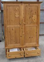 1960s Country Pine 2 Door Wardrobe with Base Drawers and Carved Detail (5 of 5)