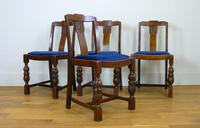 Good Set of 4 1930s British Oak Dining Chairs Newly Upholstered
