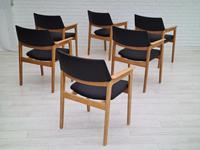 Danish design, Bjerringbro Savværk Møbelfabrik, 1970s, set of 6 dining armchairs, reupholstered (18 of 18)