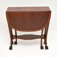 Antique Burr Walnut Drop Leaf Dining Table (6 of 11)
