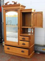 1910s Over Carved Satin Walnut Mirrored Combination Wardrobe (4 of 4)