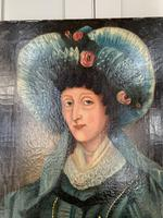 Antique Spanish oil painting study of a society lady with bonnet (7 of 10)