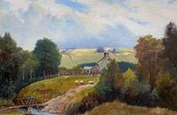 'Sheep In The Yorkshire Dales' - Original 1943 Vintage Landscape Oil Painting (2 of 12)