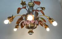 Large Florentine Ceiling Light Chandelier Toleware with Polychrome Painting (4 of 11)