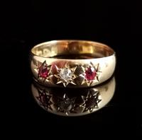 Antique Ruby & Diamond Gypsy Set Ring, 18ct Yellow Gold (6 of 10)