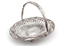 Victorian Oval Silver Plated Swing Handle Basket with Wheat and Rope Border on Four Cast Scroll Feet (5 of 5)