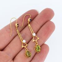 Antique Amethyst Peridot and Pearl Drop Dangle 9ct 9K Yellow Gold Earrings (4 of 4)