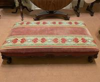 Good & Large-Sized Victorian Embroidered Mahogany Footstool