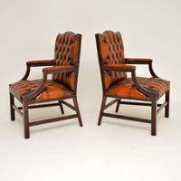 Pair of Antique Leather & Mahogany Gainsborough Armchairs (3 of 8)