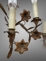 Vintage French Set of Three Wall Lights Sconces Rustic Gilt Bronze Lilies (7 of 10)