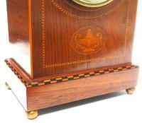Incredible French Inlaid Lancet Mantel Clock Multi Wood Inlay 8 Day Striking Mantle Clock (3 of 10)