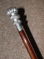 Vintage 925 Silver Segment Patterned Topped Walking Stick / Cane (4 of 11)