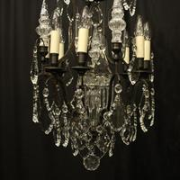 French Bronze & Crystal 8 Light Cage Chandelier (4 of 10)
