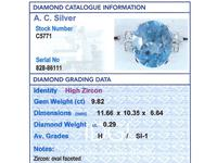 9.82ct High Zircon & 0.29ct Diamond, Platinum Dress Ring - Vintage c.1940 (6 of 9)