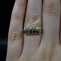 Antique REGARD and Pearl Acrostic Multi Gemstone 9ct Gold Ring Band (5 of 10)