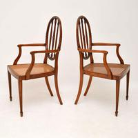 Pair of Antique Satinwood Cane Seated Armchairs (3 of 12)