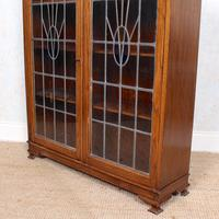Oak Leaded Stained Glazed Bookcase Arts & Crafts Edwardian (3 of 11)