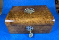Victorian Walnut Jewellery Box with Inlay