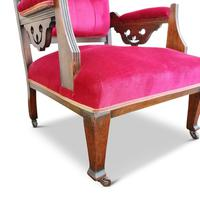 Two Arts & Crafts Fireside Chairs on Castors (5 of 13)
