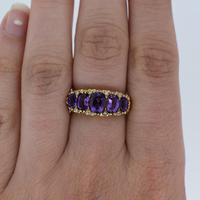 Vintage Amethyst and Diamond Chunky Scroll Five Stone 9ct 9K Yellow Gold Ring Band (4 of 10)