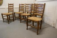 Good Set of 6 Farmhouse Ladder Back Dining Chairs (3 of 6)