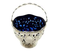 Antique Sterling Silver Basket with Scenes &  Blue Glass Liner 1901 (8 of 11)