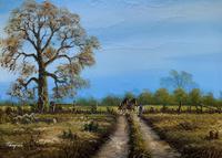 Original 1960s Vintage Antique Country Equestrian Farming Landscape Oil Painting (3 of 11)