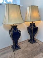 Pair of French Large Rams Heavy Bronze Blue Ceramic Table Lamps (41 of 46)
