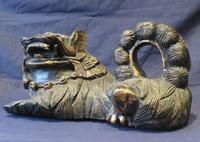 """16"""" Wide Antique Temple Dogs Fo Dogs Hand Carved T (6 of 9)"""