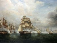Large Fine Marine Oil Painting Napoleonic French Sea Battle Trafalgar Ships Off Coast (2 of 13)