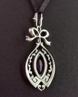 Antique Edwardian Paste Pendant, Sterling Silver (9 of 11)