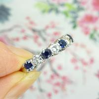 Vintage 18ct white gold Sapphire & Diamond seven stone ring (8 of 10)