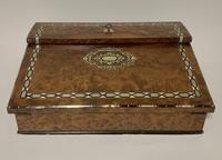 Antique Amboyna Mother of Pearl Inlaid Writing Slope Lap Box (2 of 19)