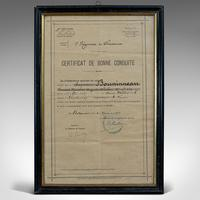 Antique Pair of Framed Certificates, French, Award of Honour, WW1 c.1918 (5 of 9)