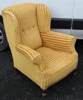 1940s Mahogany Wingback Armchair Upholstered in Gold. Nice Shape (3 of 3)